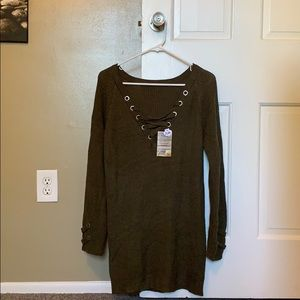 NWT Long Army Green Sweater